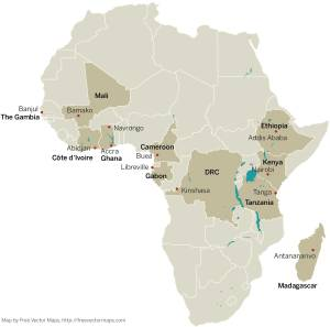 The cities where the PDNA member-institutions are located are indicated on the map of Africa.  Credit: DOI: