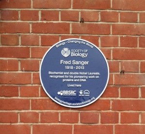 On Saturday 7th March a plaque celebrating Fred Sanger will be unveiled at his former home in Cambridge. Credit: Society of Biology