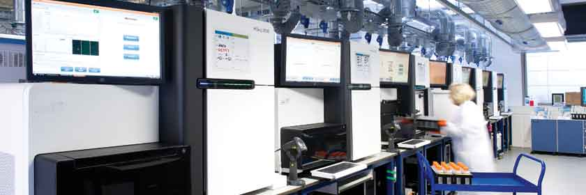 Wellcome Trust Sanger Institute sequencing laboratory. Credit: Genome Research Limited